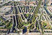 Nederland, Noord-Holland, Amsterdam, 27-09-2015; Amsterdam-Zuid, Rivierenbuurt, onderdeel van Plan-Zuid van H.P. Berlage. In het midden het Twaalfverdiepingenhuis (Wolkenkrabber) van architect  J.F. Staal aan het Victorieplein. Links de Rooseveltlaan, rechts Churchill-laan. Achter de Wolkenkrabber Merwedeplein. <br /> Rivierenbuurt, neighbourhood in the south of Amsterdam, part of the Plan Zuid urban expansion programme designed by architect Berlage.  Amsterdam School style architecture. <br /> <br /> luchtfoto (toeslag op standard tarieven);<br /> aerial photo (additional fee required);<br /> copyright foto/photo Siebe Swart