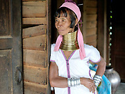 Portrait of Maria, a Kayan ethnic minority woman at her home in Song Duu village, Kayah State, Myanmar on 12th November 2016. Myanmar is one of the most ethnically diverse countries in Southeast Asia with 135 different indigenous ethnic groups. There are over a dozen ethnic Karenni subgroups in the region including the Kayan who are perhaps the best known due to the traditional practice of the Kayan women extending their necks with brass rings