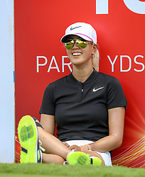 April 13, 2018 - Kapolei, HI, U.S. - KAPOLEI, HI - APRIL 13: Michelle Wie watches the action while waiting to hit her tee shot on the 18th tee box during the third round of the LPGA Tour LOTTE Championship at the Ko Olina Golf Club, Friday, April 13, 2018, in Kapolei, HI. (Photo by Darryl Oumi/Icon Sportswire) (Credit Image: © Darryl Oumi/Icon SMI via ZUMA Press)