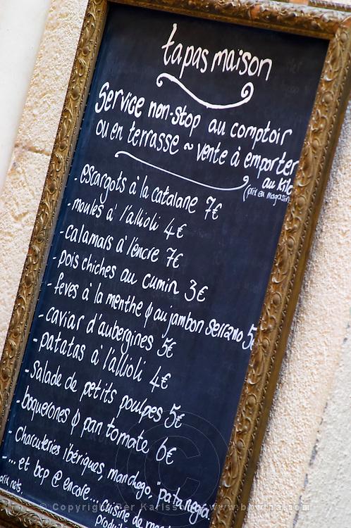 Menu with tapas. Collioure. Roussillon. France. Europe.