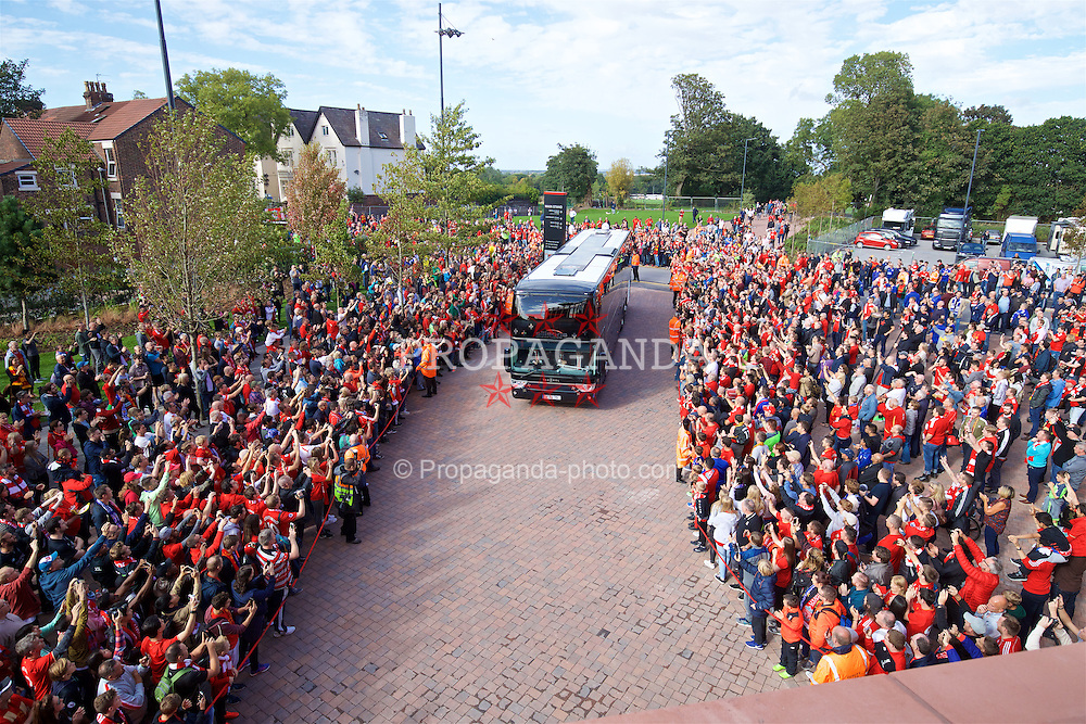 LIVERPOOL, ENGLAND - Saturday, September 10, 2016: Liverpool supporters welcome the team bus as it arrives before the FA Premier League match against Leicester City at Anfield. (Pic by David Rawcliffe/Propaganda)