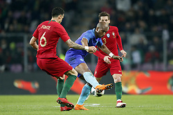 (L-R) Jose Fonte of Portugal, Ryan Babel of Holland, Rolando of Portugal during the International friendly match match between Portugal and The Netherlands at Stade de Genève on March 26, 2018 in Geneva, Switzerland