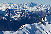 View of the Luchonnais from Pic de la Calabasse (2210 metres), near Saint-Lary, Pays Couserans, Ariege, Pyrenees, France.