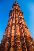 Qutub Minar (The Qutub Tower), also known as Qutb Minar and Qutab Minar, is the tallest minar (73 metres) in India originally an ancient Islamic Monument, inscribed with Arabic inscriptions, though the iron pillar has some Brahmi inscriptions, and is a UNESCO World Heritage Site. Located in Delhi, the Qutub Minar is made of red sandstone and marble. The stairs of the tower has 379 steps, is 72.5 metres (237.8 ft) high, and has a base diameter of 14.3 metres, which narrows to 2.7 metres at the top. Construction was started in 1192 by Qutub-ud-din Aibak and was carried on by his successor, Iltutmish. In 1368, Firoz Shah Tughlak constructed the fifth and the last storey. It is surrounded by several other ancient and medieval structures and ruins, collectively known as the Qutub complex.