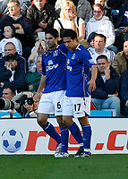 Photo: Steve Bond.<br /> Derby County v Everton. The FA Barclays Premiership. 28/10/2007. Mikel Arteta (L) celebrates