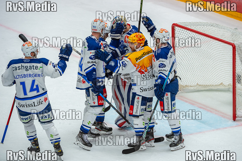 LAUSANNE, SWITZERLAND - OCTOBER 01: Team ZSC Lions celebrates the win after the Swiss National League game between Lausanne HC and ZSC Lions at Vaudoise Arena on October 1, 2021 in Lausanne, Switzerland. (Photo by Robert Hradil/RvS.Media)