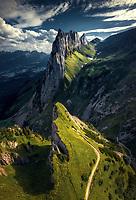 erial view of  Alpstein, Appenzell Innerrhoden, Switzerland with mountains,hiking trail and the Saxer Lücke landmark