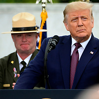 President Donald Trump delivers remarks at the Flight 93 National Memorial on the 19th observance of the 911 terrorist attack on America on Friday, September 11, 2020 near Shanksville, Pennsylvania. The memorial honors the 40 passengers and crew that lost their lives in the crash. Photo by Archie Carpenter/UPI
