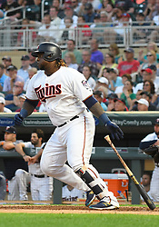 May 31, 2018 - Minneapolis, MN, U.S. - MINNEAPOLIS, MN - MAY 31: Minnesota Twins Third base Miguel Sano (22) hits a single during a MLB game between the Minnesota Twins and Cleveland Indians on May 31, 2018 at Target Field in Minneapolis, MN. The Indians defeated the Twins 9-8.(Photo by Nick Wosika/Icon Sportswire) (Credit Image: © Nick Wosika/Icon SMI via ZUMA Press)