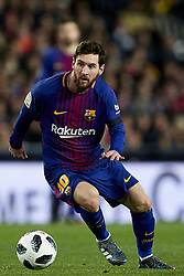 February 8, 2018 - Valencia, Valencia, Spain - Leo Messi of FC Barcelona with the ball during the Copa del Rey semi-final second leg match between Valencia CF and FC Barcelona at Mestalla on February 8, 2018 in Valencia, Spain  (Credit Image: © David Aliaga/NurPhoto via ZUMA Press)