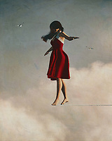The Girl walking in the clouds above is a beautiful image of innocence and beauty that will bring back memories for most anyone. It is a classic work by Jan Keteleer a master of modern art, and just as importantly, it is also a work of conceptual art. This form of painting, which can be called a type of painting in the same way that conceptual art is described, takes its influence from the painting techniques used by impressionists. The surrealism and cubism were also key elements to the formation of this particular style of painting.<br /> <br /> For the style of painting to come into focus, the sky must be seen through the eyes of the girl. If her gaze is upward towards the clouds it is a stitched in feeling rather than an actual representation of something outside. It is an image created by allowing the perspective of the painting itself to be that of the rising sun over a sea of clouds. It is a very powerful image because the girl in the painting is barely seen, yet she carries such meaning within her gentle gaze. When you look at Girl walking in the clouds above you can sense the timelessness of youth, and the beauty of the summer.