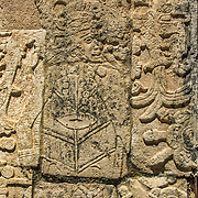 North America, Latin America, Latin, Caribbean, tropical, Mexico, Yucatan, Chichen Itza, Xchen Itza, Maya, Mayan, UNESCO World Heritage Site, <br /> Ancient Mayan hieroglyphics at historic Chichen Itza, Mexico.