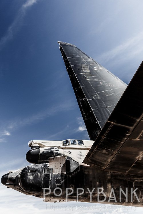 The tail of a B-52 Stratofortress