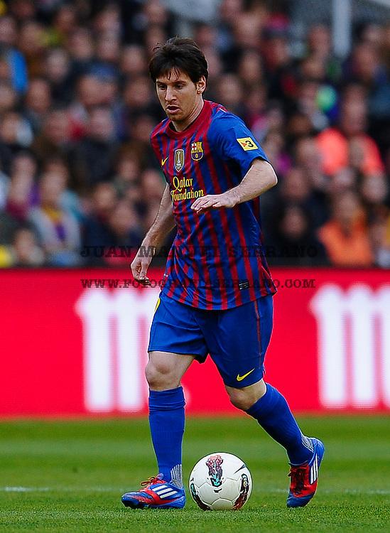 Lionel Andres Messi en accion  Partido del Racing de Santander contra  Futbol Club Barcelona en Santander  Spain, 13  Marzo 2012. Photo By  Juan Manuel Serrano Arce