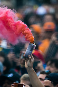 August 29-Sept, 2019: Belgium Grand Prix. Fans with smoke bombs