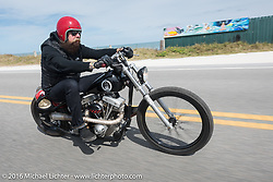 Jim Root from the Band Slipknot on a Blings Cycles bike riding highway A1A along the ocean from Flagler back to Daytona during Daytona Bike Week 75th Anniversary event. FL, USA. Thursday March 3, 2016.  Photography ©2016 Michael Lichter.