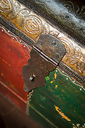 Close-up of metal trunk detail, Reni Pani Jungle Lodge, Madhya Pradesh, India