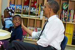 President Barack Obama visits a class at Moravia Park Elementary School in Baltimore, Maryland on May 17, 2013. Photo by Kristoffer Tripplaar/ABACAUSA.COM    365076_011 Etats-Unis United States