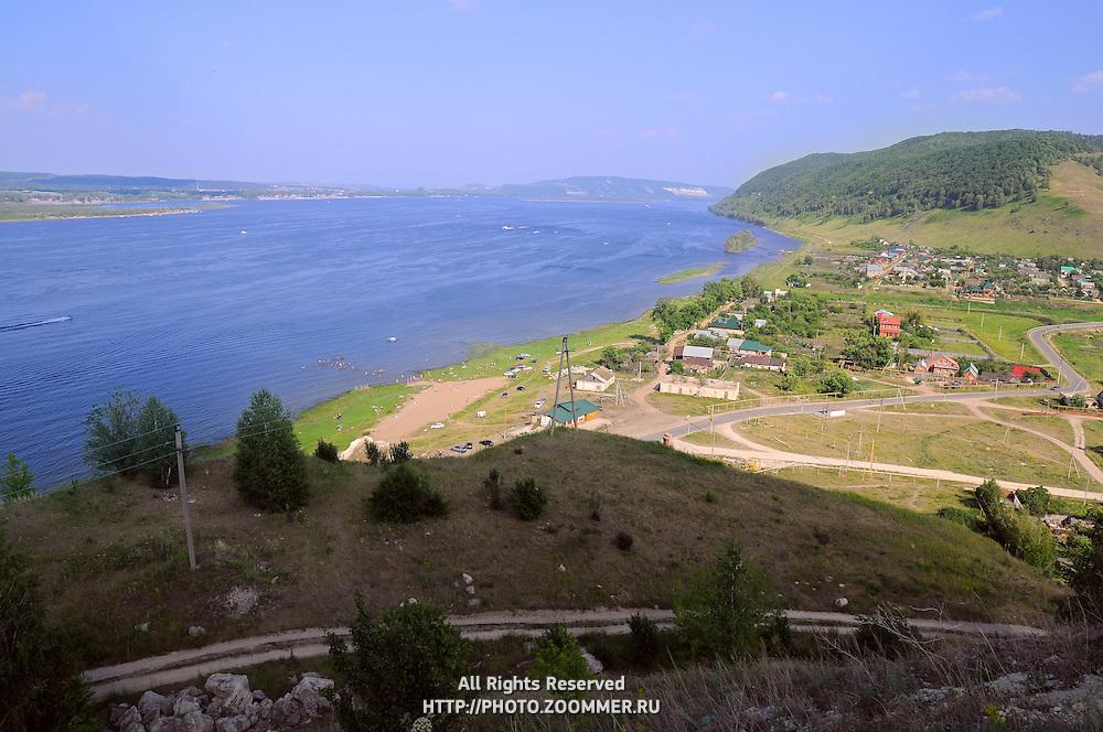 "Volga river in summer, as seen from the mountains of the National Park ""Samarskaya Luka"""