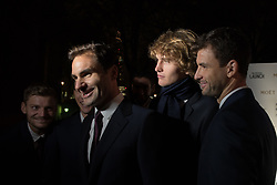 November 9, 2017 - London, England, United Kingdom - David Goffin of Belgium (L), Roger Federer of Switzerland (2-L), Alexander Zverev of Germany (3-L) and Grigor Dimitrov of Bulgaria arrive during the The Official Launch for ATP Finals prior to the start of ATP World Tour Finals Tennis at O2 Arena, London on November 9, 2017. (Credit Image: © Alberto Pezzali/NurPhoto via ZUMA Press)