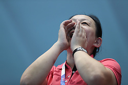 JAKARTA, Aug. 24, 2018  Chinese swimmer Sun Yang's mother Yang Ming cheers for her son during men's 1500m freestyle final of swimming at the 18th Asian Games in Jakarta, Indonesia, Aug. 24, 2018. (Credit Image: © Fei Maohua/Xinhua via ZUMA Wire)