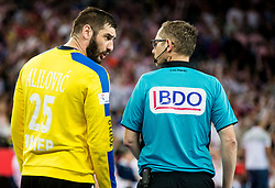Mirko Alilovic of Croatia talks to referee Marcus Helbig of Germany  during handball match between National teams of Croatia and France on Day 7 in Main Round of Men's EHF EURO 2018, on January 24, 2018 in Arena Zagreb, Zagreb, Croatia.  Photo by Vid Ponikvar / Sportida