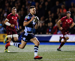 Tomos Williams of Cardiff Blues scores his sides second try<br /> <br /> Photographer Simon King/Replay Images<br /> <br /> Guinness PRO14 Round 4 - Cardiff Blues v Munster - Friday 21st September 2018 - Cardiff Arms Park - Cardiff<br /> <br /> World Copyright © Replay Images . All rights reserved. info@replayimages.co.uk - http://replayimages.co.uk