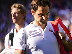 July 11, 2018 - London, England, U.S. - LONDON, ENG - JULY 11: Number one seed, Roger Federer (SUI) leaving the court after loosing his quarter final match on July 11, 2018, to 8th seed Kevin Anderson (RSA)) 13 -11 in the fifth seet played at the AELTC, London, England. (Photo by Cynthia Lum/Icon Sportswire) (Credit Image: © Cynthia Lum/Icon SMI via ZUMA Press)