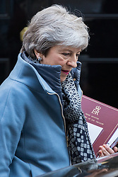 London, UK. 10th April 2019. Prime Minister Theresa May leaves 10 Downing Street to attend Prime Minister's Questions in the House of Commons after failing to obtain agreement from the European Union for a further short Brexit extension following visits yesterday to Berlin and Paris.