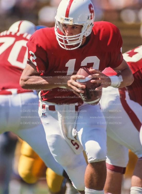 COLLEGE FOOTBALL:  Jason Palumbis #12, Stanford vs San Jose State on September 29, 1990 at Stanford Stadium in Palo Alto, California.  Photograph by David Madison   www.davidmadison.com.