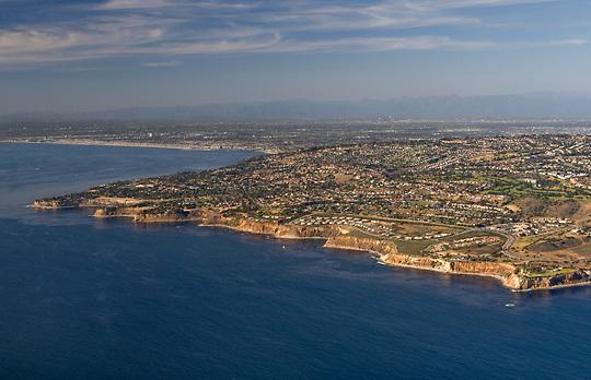 Aerial view of Palos Verdes looking north/northeast toward the Los Angeles area.
