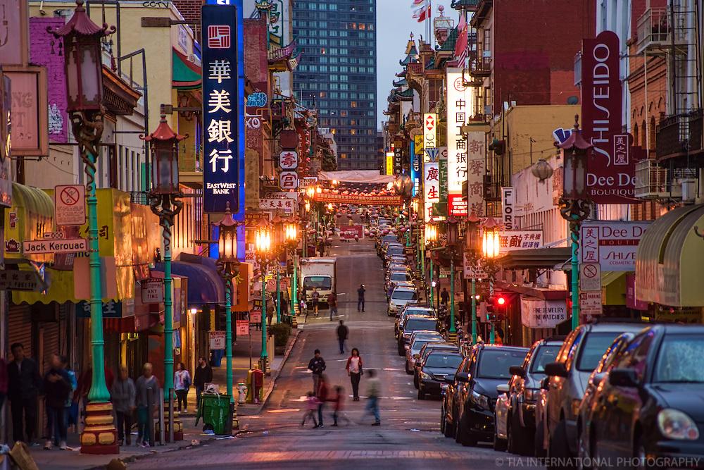 Evening in Chinatown (Grant Avenue), San Francisco
