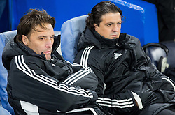 Miran Pavlin and Zlatko Zahovic of NK Maribor during football match between Chelsea FC and NK Maribor, SLO in Group G of Group Stage of UEFA Champions League 2014/15, on October 21, 2014 in Stamford Bridge Stadium, London, Great Britain. Photo by Vid Ponikvar / Sportida.com
