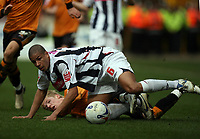 Photo: Rich Eaton.<br /> <br /> Wolverhampton Wanderers v West Bromwich Albion. Coca Cola Championship. 11/03/2007. Curtis Davies #6 of West Brom and Andy Keogh of Wolves lie on the pitch after a tackle