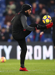 """Arsenal's Alexandre Lacazette during the warm up before the Premier League match at Selhurst Park, London. PRESS ASSOCIATION Photo. Picture date: Thursday December 28, 2017. See PA story SOCCER Palace. Photo credit should read: John Walton/PA Wire. RESTRICTIONS: EDITORIAL USE ONLY No use with unauthorised audio, video, data, fixture lists, club/league logos or """"live"""" services. Online in-match use limited to 75 images, no video emulation. No use in betting, games or single club/league/player publications."""