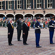 NLD/Den Haag/20130917 -  Prinsjesdag 2013, Vice president der Staten Generaal Piet Hein Donner groet het vaandel