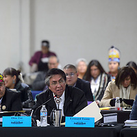 Council member Leonard Tsosie introduces a motion for the vote of Speaker of the Council to be conducted through roll call voting instead of through closed ballots during the Navajo Nation Council Session in Window Rock Monday.