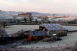 © Licensed to London News Pictures. 07/02/2020. Cwmbach Lechrhyd, Powys, Wales, UK. Frosty morning at Cwmbach Lechrhyd in Powys after temperatures dropped to around minus 5 C last night in Powys, Wales, UK. Photo credit: Graham M. Lawrence/LNP