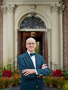 """David N. Wren, 61, is also the author of """"Ardrossan: The Last Great Estate on the Philadelphia Main Line,"""" which is to be released in November (Bauer and Dean Publishers) stands in from to the great house's front door in Villanova, Pa on Friday 3 November 2017. Photograph by Jim Graham"""