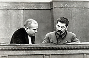 Joseph Stalin and Nikita Khrushchev in 1936. Stalin 1878 –  1953, was Soviet Russia's leader from 1924-1953.Nikita Khrushchev 1894 –  1971, was leader of Soviet russia from 1953-1964.