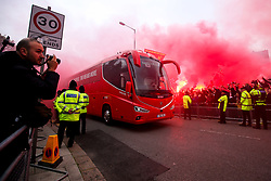 Liverpool fans light flares to greet their team ahead of their Champions League semi final second leg at Anfield - Mandatory by-line: Robbie Stephenson/JMP - 07/05/2019 - FOOTBALL - Anfield - Liverpool, England - Liverpool v Barcelona - UEFA Champions League Semi-Final 2nd Leg