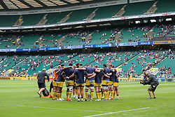 Worcester Warriors warm up - Rogan Thomson/JMP - 03/09/2016 - RUGBY UNION - Twickenham Stadium - London, England - Saracens v Worcester Warriors - Aviva Premiership London Double Header.
