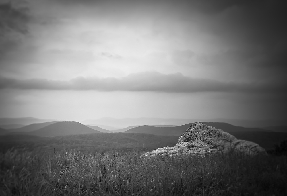 A sole boulder is seen here from Spruce Knob.  The highest point in West Virginia