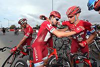 Arrival, KRISTOFF Alexander (NOR) winner, BYSTROM Sven Erik (NOR), joy Team Katusha, during the 7th Tour of Oman 2016, Stage 3, Al Sawadi Beach - Naseem Park (176,5Km), on February 18, 2016 - Photo Tim de Waele / DPPI