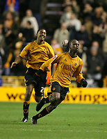Photo: Rich Eaton.<br /> <br /> Wolverhampton Wanderers v Sunderland. Coca Cola Championship. 24/11/2006. Jemal Johnson right of Wolves celebrates his first half goal with teammate Mark Little in the background