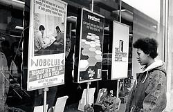 Woman outside Job Centre UK 1998