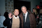 Larry Gagosian; Takashi Murakami,  Prada Congo Art Party hosted by Miuccia Pada and Larry Gagosian. The Double Club,  Torrens St. London EC1. The Double Club is A Carsten Holler project by Fondazione Prada. 10 February 2009. *** Local Caption *** -DO NOT ARCHIVE-© Copyright Photograph by Dafydd Jones. 248 Clapham Rd. London SW9 0PZ. Tel 0207 820 0771. www.dafjones.com.<br /> Larry Gagosian; Takashi Murakami,  Prada Congo Art Party hosted by Miuccia Pada and Larry Gagosian. The Double Club,  Torrens St. London EC1. The Double Club is A Carsten Holler project by Fondazione Prada. 10 February 2009.
