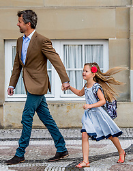 Crown Prince Frederick of Denmark poses along with his daughter Princess Josephine outside Amalienborg palace in Copenhagen, Denmark, on Tuesday August 15, 2017. Prince Vincent and Princess Josephine, both born in 2011, begin in grade 0 at Tranegard School in Hellerup on Tuesday. The twins are the youngest children of the crown princely couple. Photo by Robin Utrecht/ABACAPRESS.COM