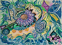 Abstract mystic happy nature composition with floral pattern and shapes of nature, swirls, curls, bended lines and geometric and round figures,  in tones of blue, green, yellow, purple, violet and black, with shades