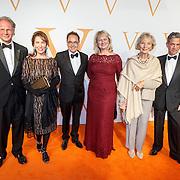 NLD/Katwijk/20151030 - 5 Jarig jubileumvoostelling musical Soldaat van Oranje, Patricia Steur,  Karin Hazelhoff Roelfzema<br /> en dochter Karna Hazelhoff-Castellon met haar echtgenoot